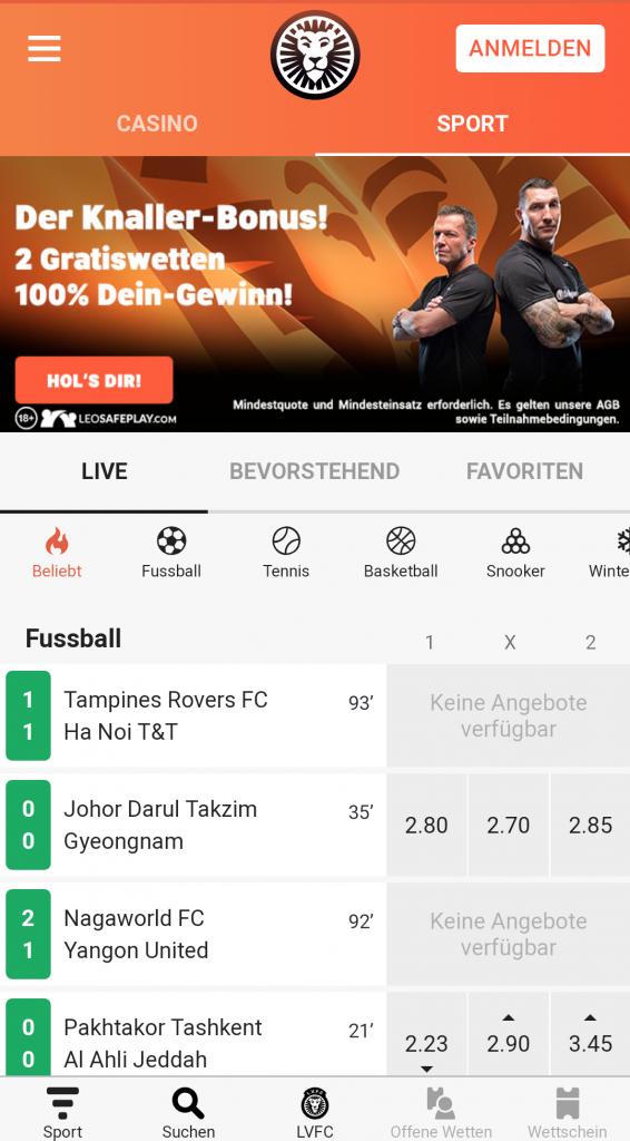 leovegas sportwetten app schweiz