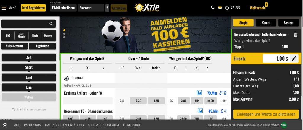 xtip webseite sportwettenschweiz