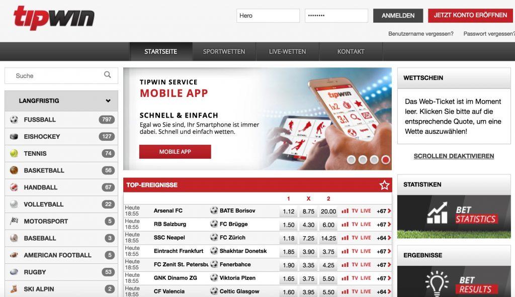 tipwin sportwetten schweiz webseite