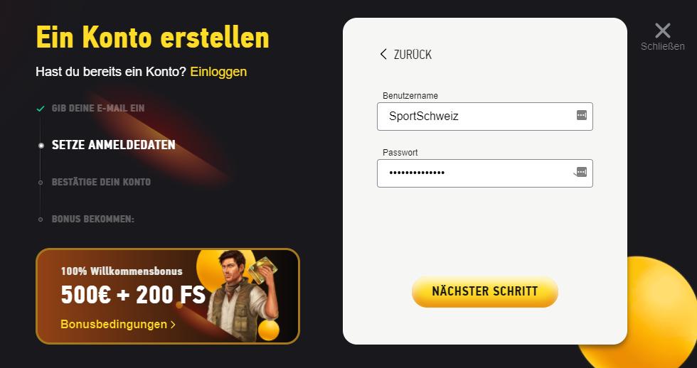 FEZbet Registrierung 2