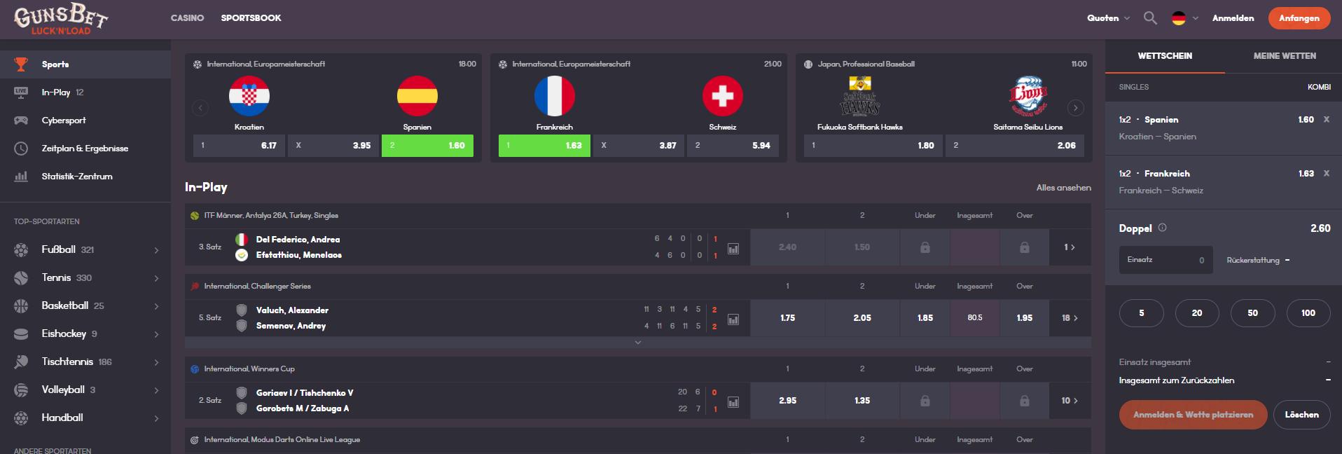 Gunsbet Schweiz - Webseite