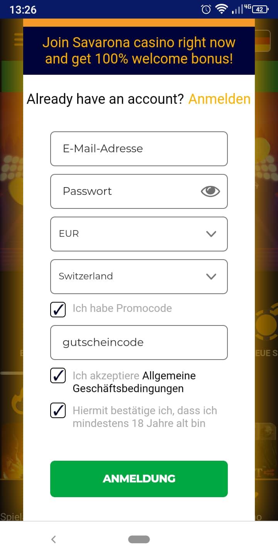 Savarona Schweiz Anmeldung